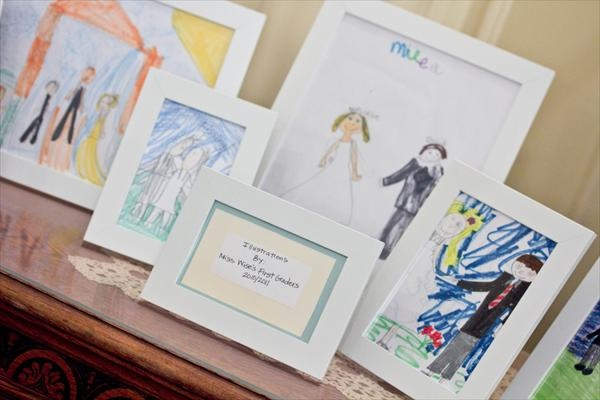 a teacher had her students draw pictures of her and her new husband to display at the reception... so cute!