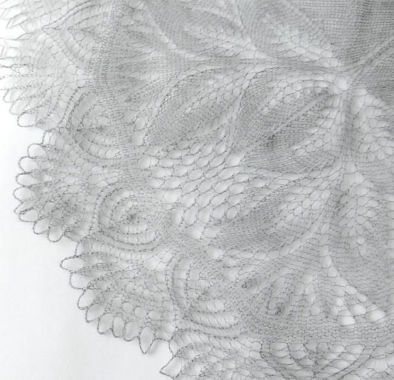 Wedding Shawl Gray Kid Mohair Silk Blend Yarn Knitting Lace Warm Winter Stole Knitted Wrap Elegant Romantic Gift for women Bridal Scarf