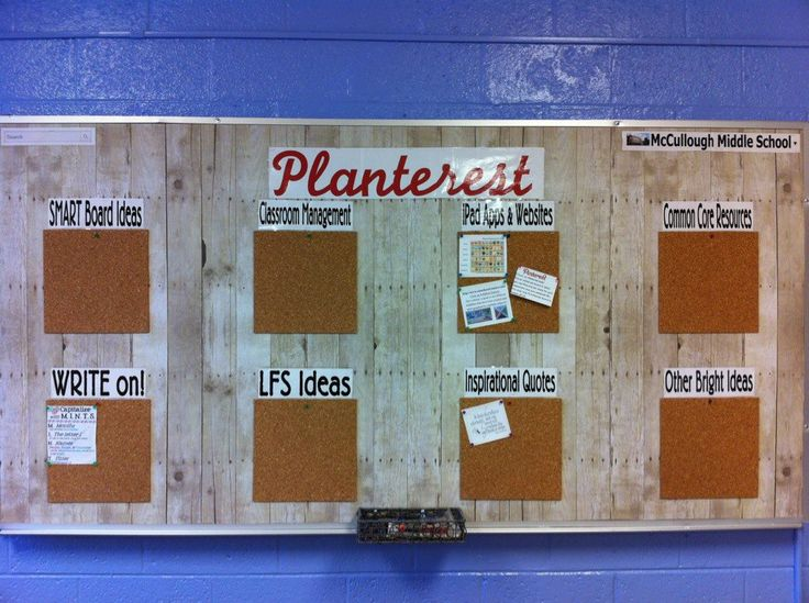 My Pinterest inspired bulletin board - PLANterest for teachers!  Teachers can post ideas in different categories to share with each other.  Located in the faculty room.