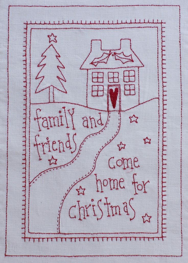 Christmas house embroidery