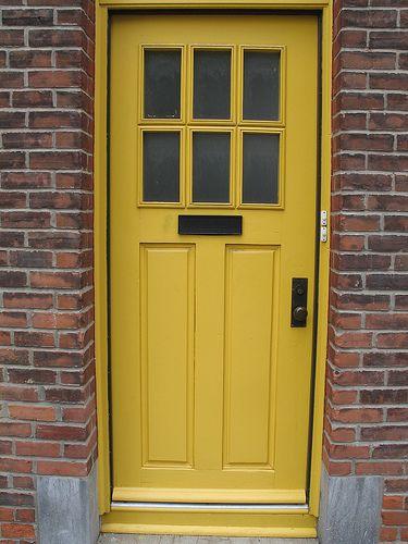 Yellow door for the home pinterest for Front door yellow house