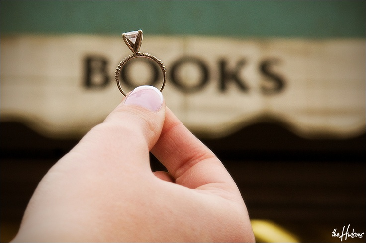 A ring shot taken during an engagement shoot at the bookstore where the couple went on their first date!