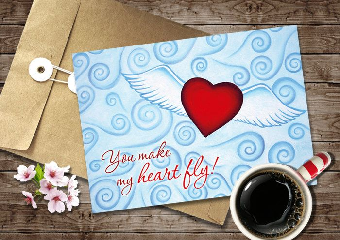 Valentines Day Card Design, Digital Instant Download, Red Flying Heart Greeting Card, 5x7 Valentines Love Card Printable, Romantic Love Gift by NopiArtStudio on Etsy