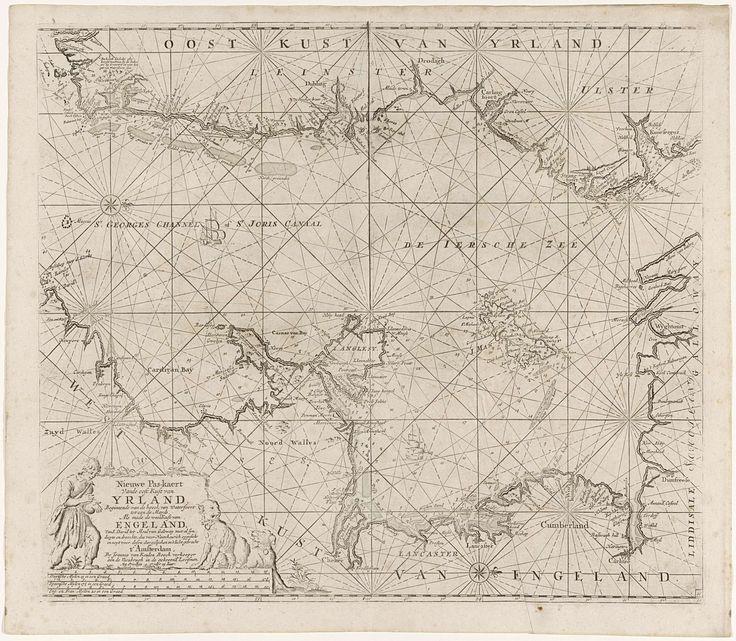 Paskaart van een deel van de Ierse Zee en het Sint-Georgekanaal, Jan Luyken, anoniem, Johannes van Keulen (I), 1681 - 1803