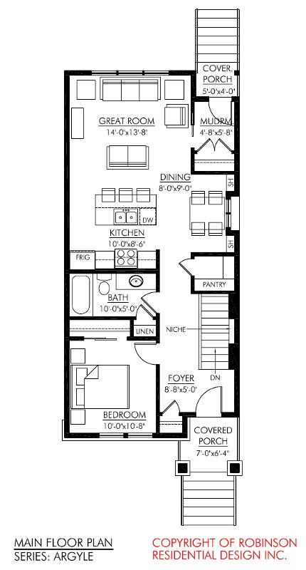 Robinson residential narrow lot series tiny houses for Wide lot house plans