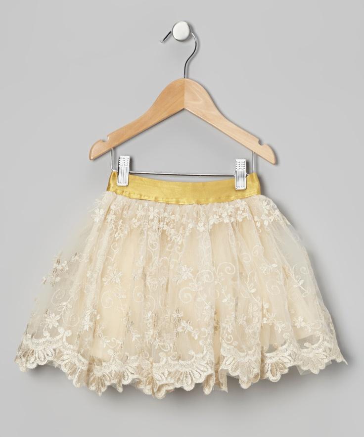 Cream Flower Skirt - Toddler  Girls | what a gorgeous lace skirt!