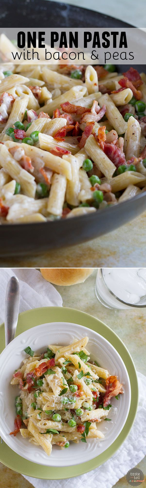 You can't beat a one pan dinner that is one the table in no time! This One Pan Pasta with Peas and Bacon is easy and flavorful and a pasta dinner that is sure to go on repeat in our house!: