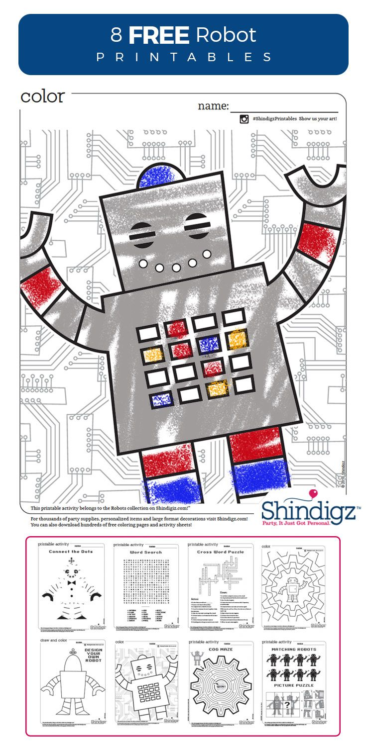 Our free robot printables are a great activity for our Robot Factory birthday party or for any day you're looking for a fun free-time activity. Robot coloring pages, robot connect the dots, and other robot themed activities are to to delight children of all ages!