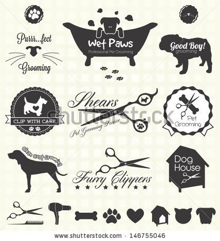 Vector Set: Pet Grooming Labels by James Daniels, via ShutterStock