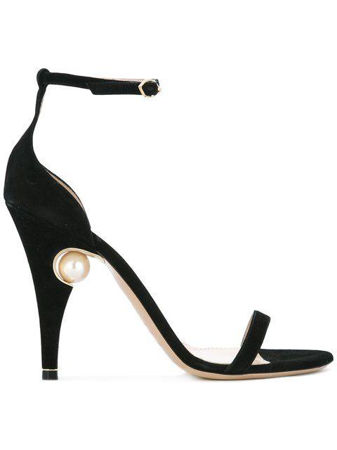 Shop Nicholas Kirkwood 105mm Penelope pearl sandals.
