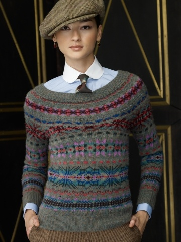 Love the yoke-style fair isle pattern | very Ralph Lauren   ~  Inspiration ... no pattern.  As usual the colours from this design house are perfectly in balance.  Love it!
