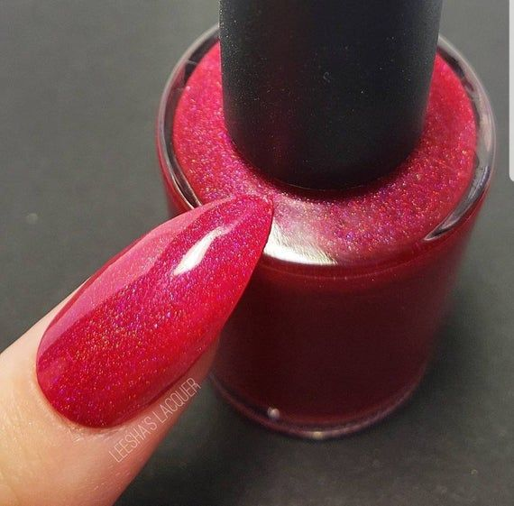 Red Holographic Indie Nail Polish, Cherry Red Holo Nail Lacquer – Cherry Boom Bo…