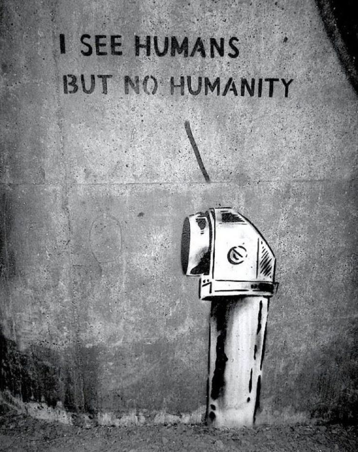I see humans but no humanity - No information on this viral photo of street art