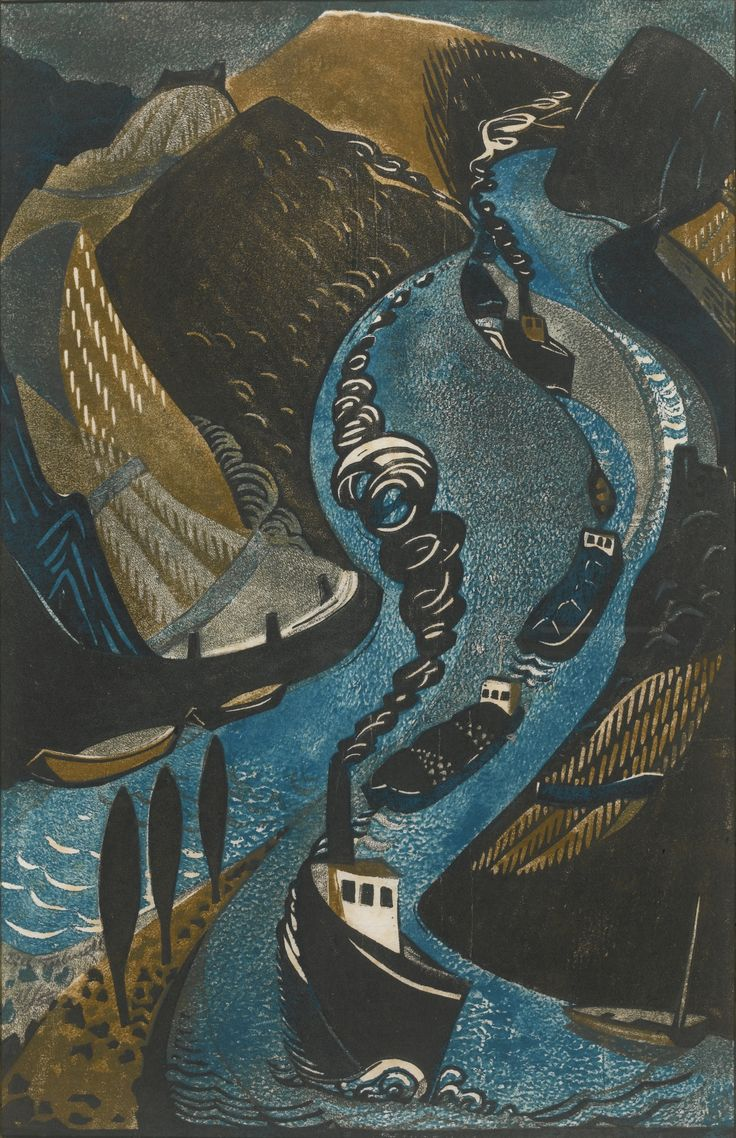 'Rheinschlepper' by Swiss artist and printmaker Lill Tschudi (1911-2001). Linocut printed in colors, edition of 50, 16.5 by 11.375 in. via Sotheby's
