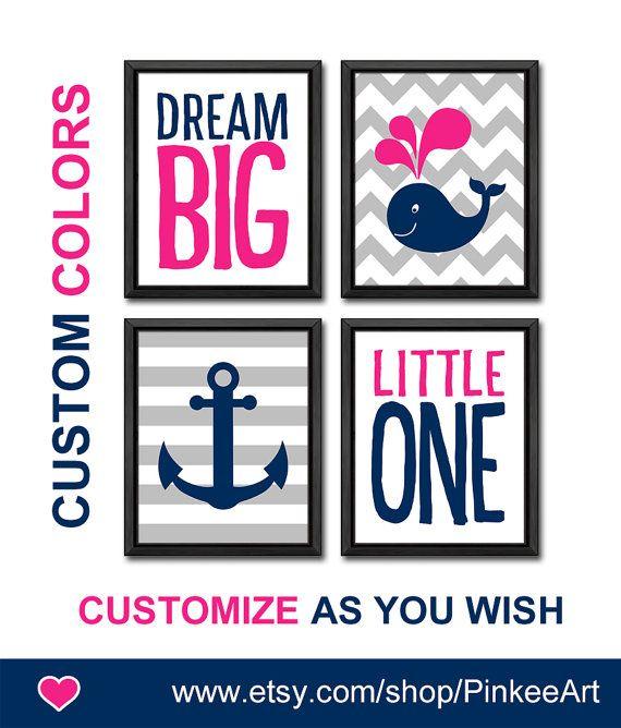 dream big nautical girl nursery art hot pink navy baby girl nursery ideas gift for girls nautical girls room decor custom girl wall art by PinkeeArt, $29.00