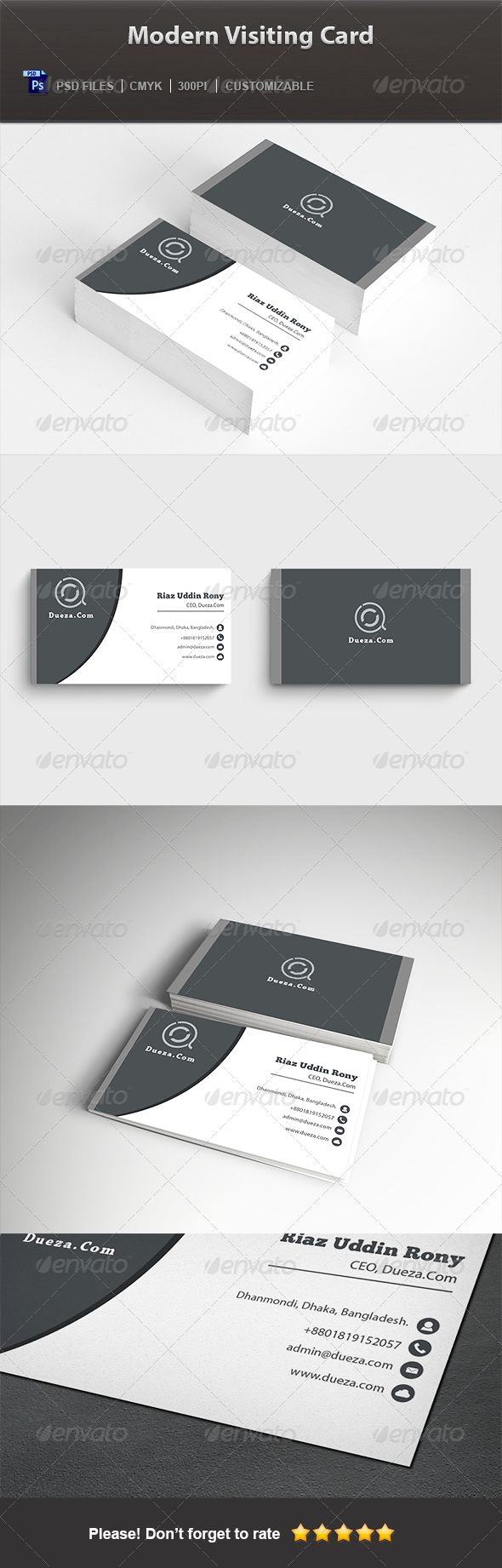 Modern Visiting Card — Photoshop PSD #standard #cool • Available here → https://graphicriver.net/item/modern-visiting-card/5742138?ref=pxcr