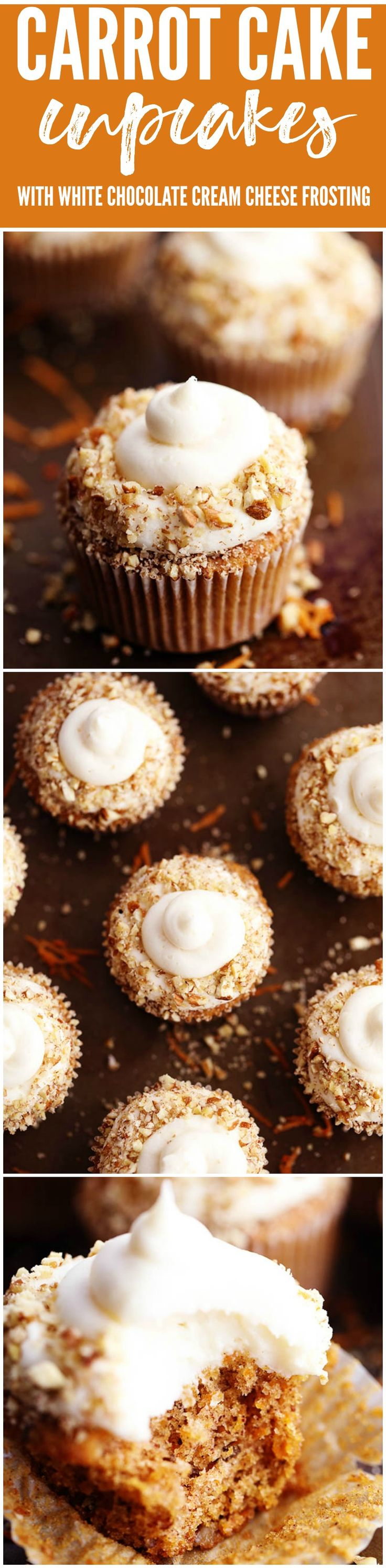 The most perfect and moist spiced carrot cake cupcakes with a white chocolate cream cheese frosting! These became one of my favorite cupcakes with the first bite!