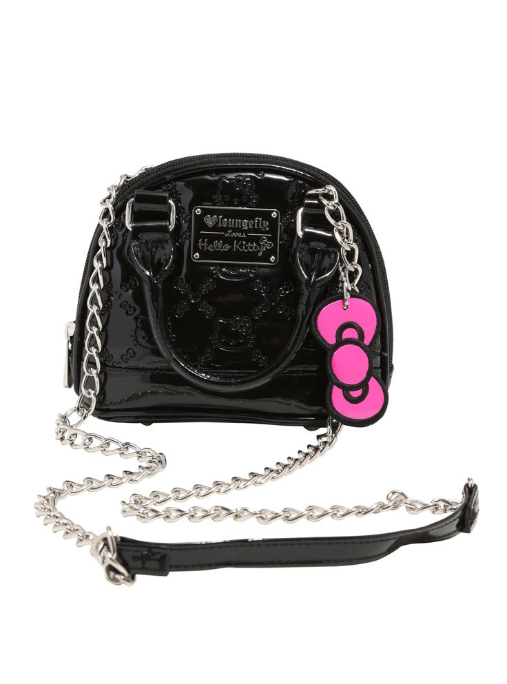 """<div>There's cute, and then there's too cute for words. And this handbag falls into the second catergory. This micro dome bag is teeny-tiny and features and embossed Hello Kitty print. It's perfect for nights out! Features rolled handes, a metal crossbody strap, interior drop and zip pockets, silver tone metal hardware and Loungefly brand plaque.</div><div><ul><li style=""""list-style-position: inside !important; list-style-type: disc !import..."""