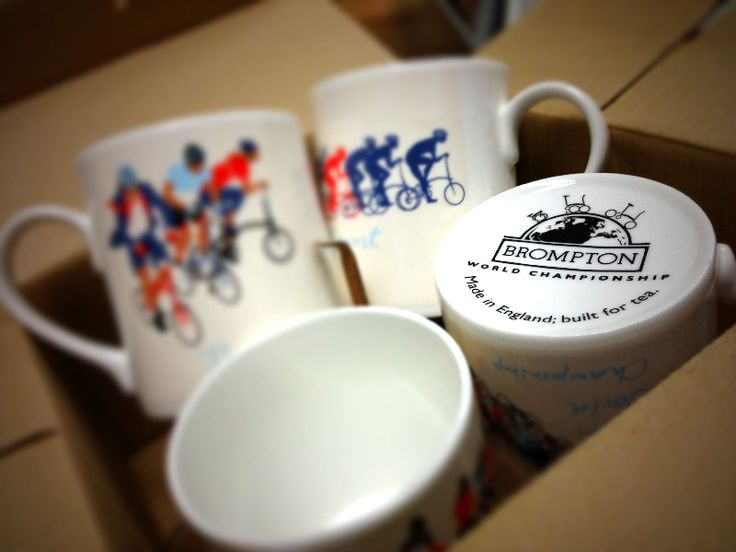 The Brompton World Championship 2013 series of 4 collectible different mugs is now available!   Made in England.   #mightyvelo #brompton