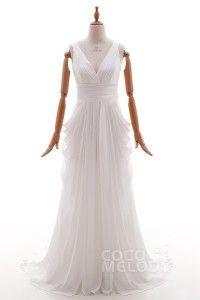 [ NZDNZ$ 270.86 ] Lovely V-Neck Court Train Chiffon Ivory Sleeveless Open Back Wedding Dress with Draped HS4382