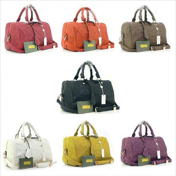 LV Speedy Bandouliere Leather (Purple, Red, Orange, Black, Khaki, White, Yellow) (L32 x T20) Rp. 325.000,- #bag #woman #lvfashion #tascewek #tasfashion #tas #murah #import #quality #recommended #jual #jualan #lv #iklan #iklan_instagram #iklanpromosi #promosi_id - @toserba_fashion- #webstagram