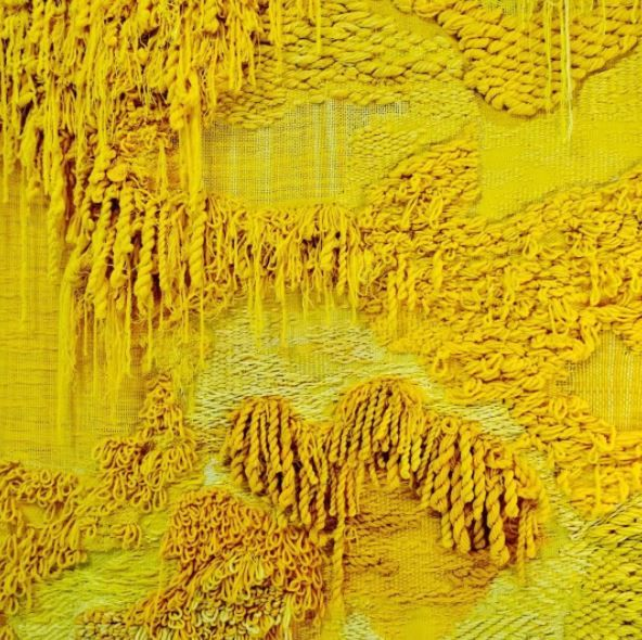 Yellow fabric landscape at the Modern Art Museum in Stockholm