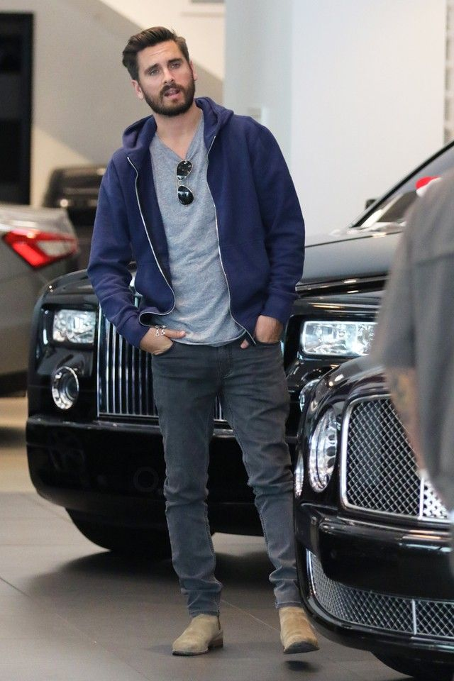 Scott Disick wearing John Elliott CO Crew-Neck Tee, Ray-Ban Original Aviator 58mm Sunglasses, Saint Laurent Tan Suede Chelsea Boots, John Elliott CO Flash Dual Fullzip, Saint Laurent Slim Fit 15.5 Hem Washed Denim Jeans
