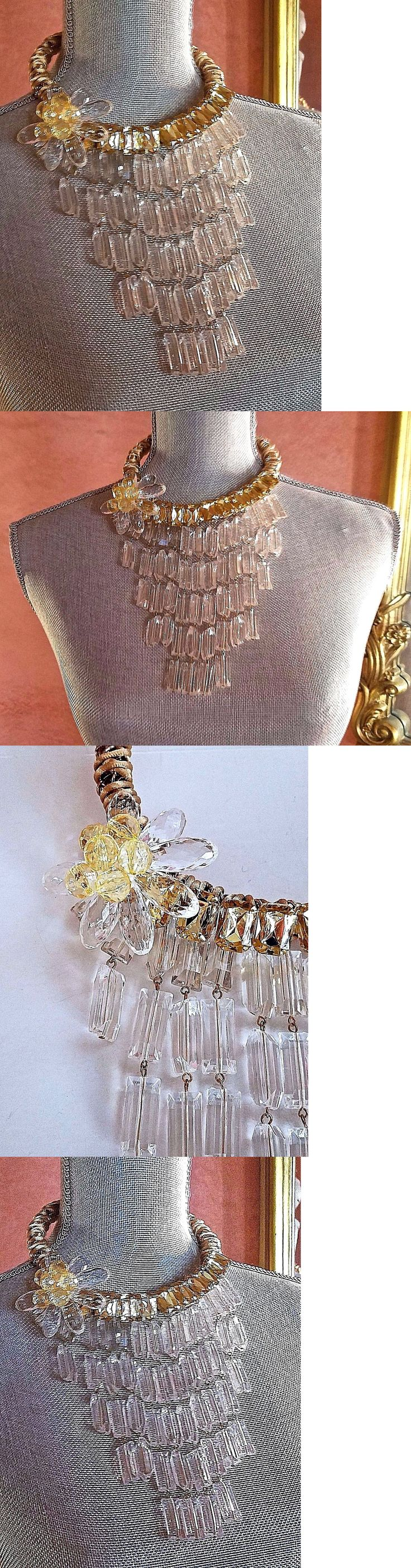 Necklaces and Pendants 155101: ~ Wow! Massive Statement Runway Designer Lucite Gold Rope Bib Pendant Necklace -> BUY IT NOW ONLY: $119.95 on eBay!