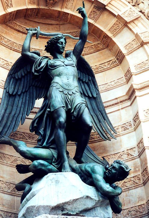 Statue of the Archangel Michael at Place St Michel ~ Paris. We visited this site more than any other.  St. Michel was so much fun!