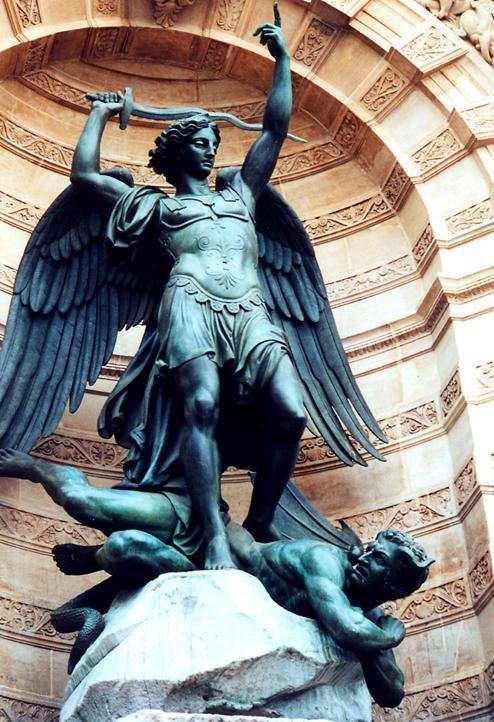 Statue of the Archangel Michael at Place St Michel ~ Paris