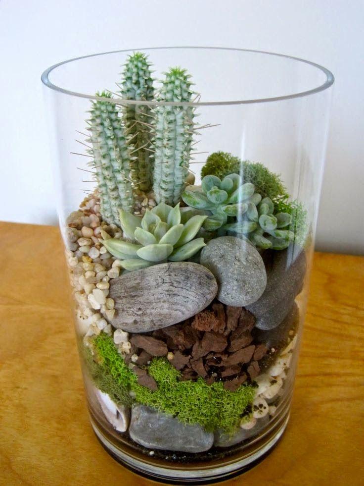 Lindo y simple- No riegue demasiado! Me gusta la variedad de texturas y colores en el sustrato , y las diferentes alturas de las plantas .