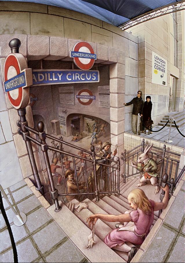 Ce métro, quel cirque ! / Street art à la craie. / Sidewalk Chalk art