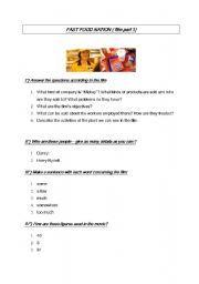 English worksheet: Film : fast food nation