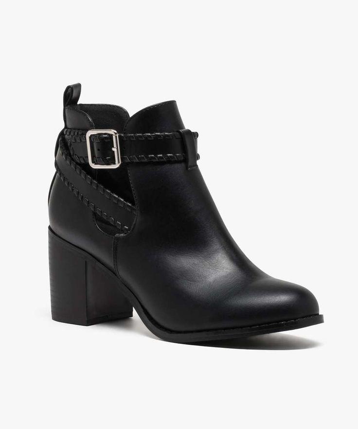 Boots ouvertes avec bride autour de la cheville Noir