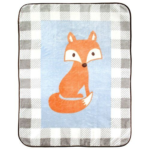 Luvable Friends Character High Pile Blanket, Blue Fox, 30...