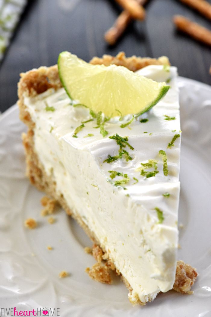 No-Bake Frozen Margarita Pie ~ cool and creamy, with a salty-sweet pretzel crust and a frosty filling flavored with fresh lime juice, tequila, and triple sec...or leave out the liquor and boost the lime juice for a family-friendly variation!   FiveHeartHome.com
