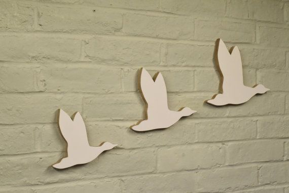 Modern Looking Flying Ducks, in White.  (Set of 3)