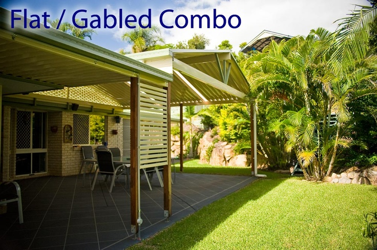 Get the best of both worlds with a     Flat / Gabled Patio Roof Combination.   #patiodesign