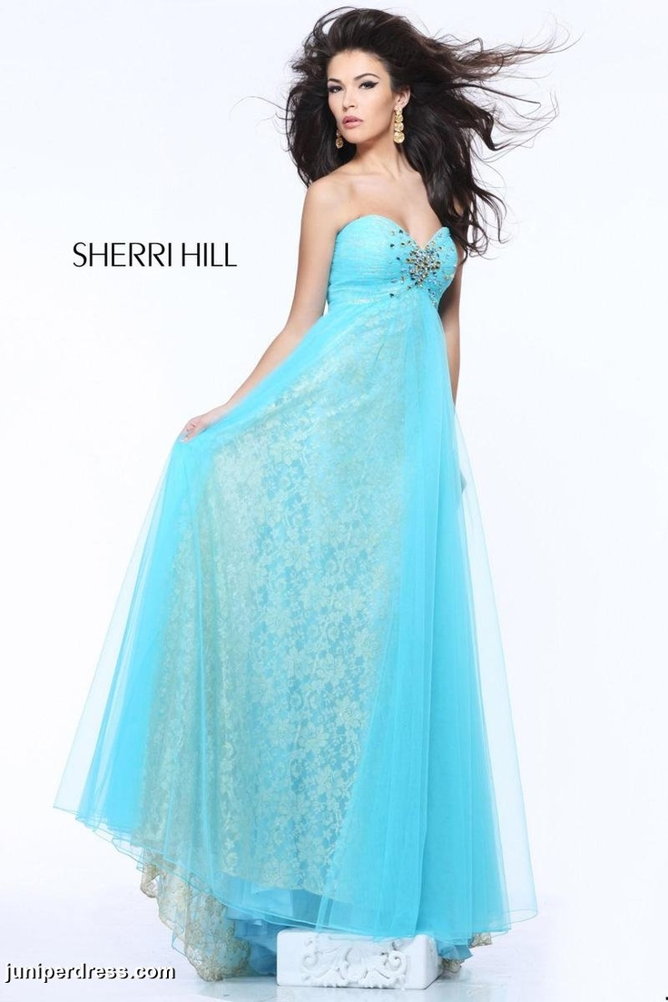 Light Blue Sherri Hill prom dress with floral pattern #prom2013 #juniperdress #floral #patterned #lightblue #sweetheart #long