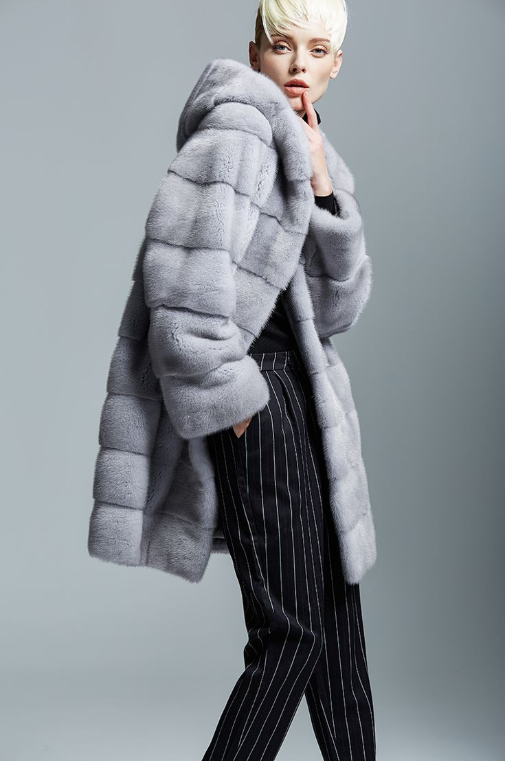 long mink fur coat ,browm color.with hood .USD4000