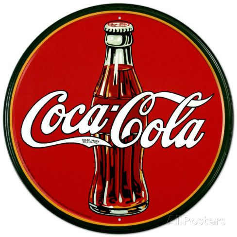 Cola bottle from the 30s – round logo sheet metal …