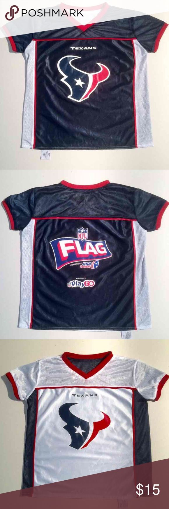 Houston Texans NFL Youth Reversible Jersey Houston Texans  Youth size Large NFL Flag powered by USA Football  Play 60  Reversible - Navy & White  Great for home and away game days! Youth or Ladies size Small/Medium NFL Tops Tees - Short Sleeve