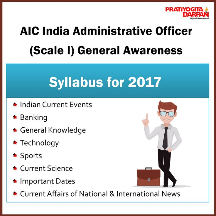 AIC India #Administrative Officer (Scale I) General #Awareness #Syllabus for 2017 1.Indian Current Events 2.Banking 3.General Knowledge 4.Technology 5.Sports 6.Current Science 7.Important Dates 8.Current Affairs of National & International News #ReadMore.