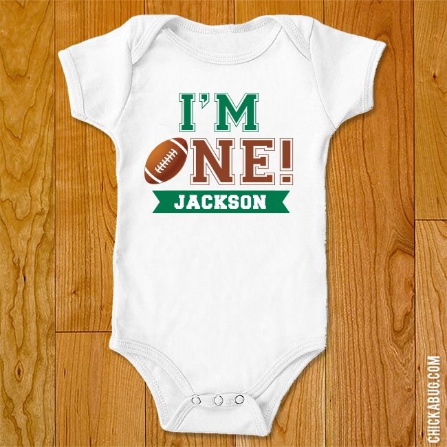 "Chickabug - ""I'm One"" Football Iron-On (Shirt or Onesie), $9.00 (http://www.chickabug.com/im-one-football-iron-on-shirt-or-onesie/)"