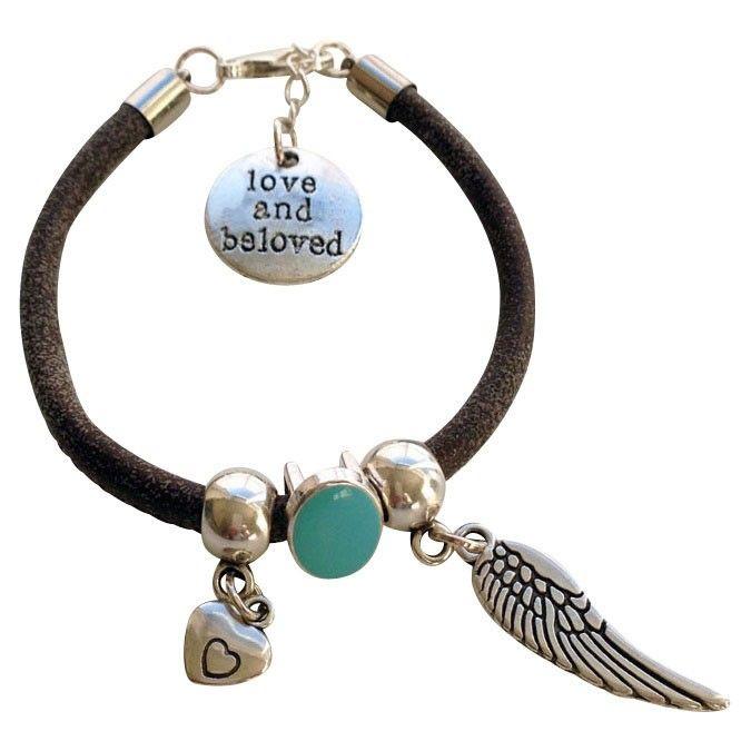 Leren armband Angel www.charmantsieraden.nl