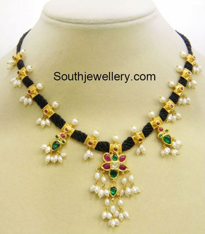 30 Grams Black Dori Guttapusalu Necklace - Jewellery Designs