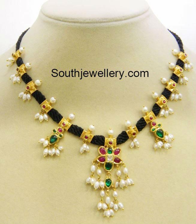 30 Grams Black Dori Guttapusalu Necklace - Jewellery Designs
