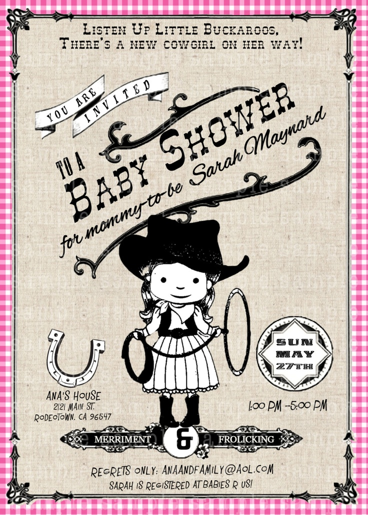 Vintage Western Baby Poster themed-  western baby girl or boy Shower or  Birthday invite diy print file PRINT YOUR OWN. $15.99, via Etsy.