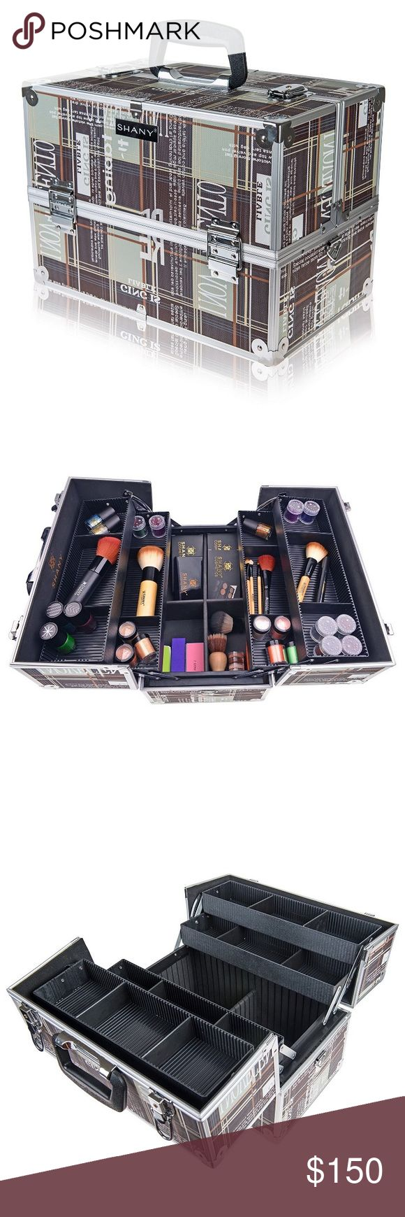 Essential Pro Makeup Train Case Essential Pro Makeup Train Case with Shoulder Strap and Locks - BROWN Makeup