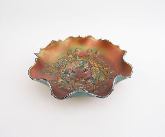 Fenton Blue Carnival Glass Nut Bowl Ruffled by thesecretcupboard, £50.00
